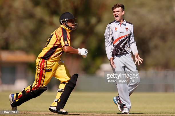 Ayden Allan of the Northern Territory screams for a catch to be taken during the National Indigenous Cricket Championships match between Northern...