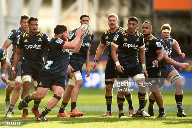 Ayden Johnstone ho charges forward during the round 10 Super Rugby Aotearoa match between the Highlanders and the Hurricanes at Forsyth Barr Stadium...