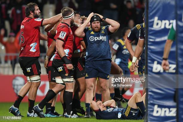 Ayden Johnstone of the Highlanders looks dejected after conceding a penalty try during the round 9 Super Rugby match between the Crusaders and...