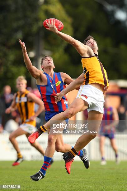 Ayden Kennedy of Box Hill and Christopher Cain of Port Melbourne compete for the ball during the round seven VFL match between Port Melbourne and Box...