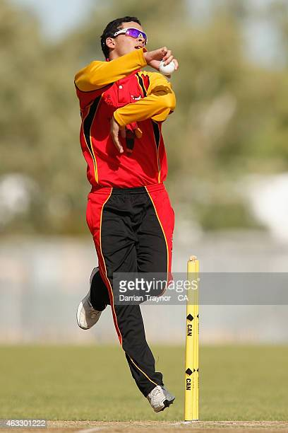 Ayden McGregorBaptista bowls against Tasmania during the 20415 Imparja Cup on February 13 2015 in Alice Springs Australia