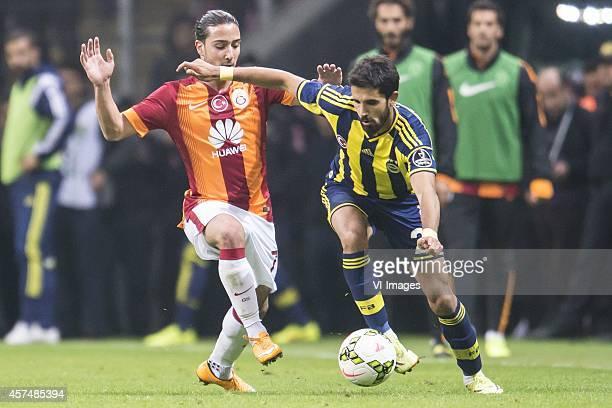 Aydin Yilmaz of Galatasaray Alper Potuk of Fenerbahce during the Turkish SuperLig match between Galatasaray and Fenerbahce on October 18 2014 at the...