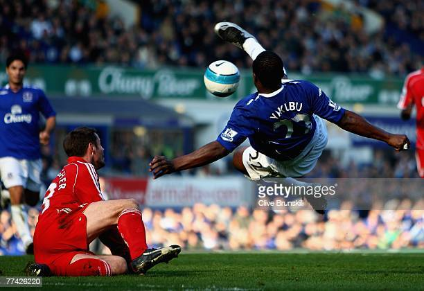 Ayegbeni Yakubu of Everton attempts a flying volley during the Barclays Premier League match between Everton and Liverpool at Goodison Park on...