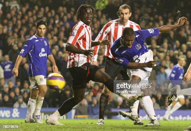Ayegbeni Yakubu of Everton scores his team's fifth goal during the Barclays Premier League match between Everton and Sunderland at Goodison Park on...