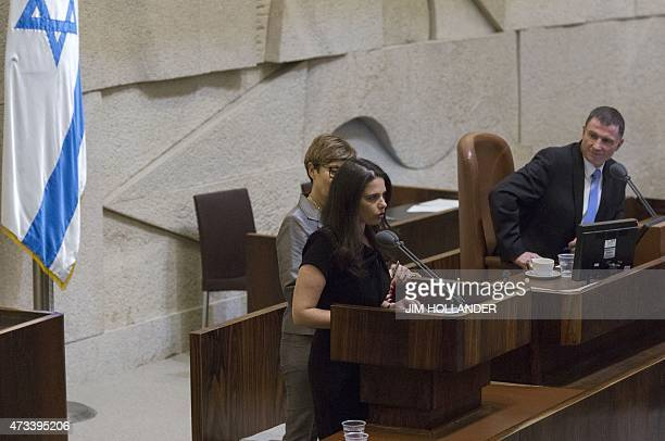 Ayelet Shaked Israel's Justice Minister speaks as she is sworn into Israel 34th government during a parliament session after a vote of confidence on...
