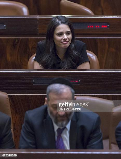Ayelet Shaked looks on before being swornin Justice Minister as Israel 34th government won a vote of confidence during a parliament session on May 14...