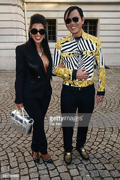 Ayem Nour and Stephen Hung attend the Versace show as part of Paris Fashion Week - Haute Couture Fall/Winter 2014-2015 on July 6, 2014 in Paris,...