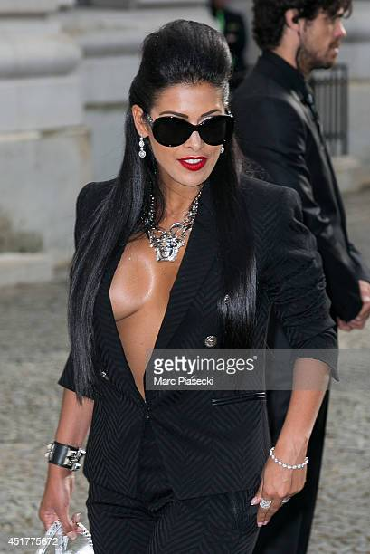 Ayem Nour arrives to attend the Versace show as part of Paris Fashion Week Haute Couture Fall/Winter 20142015 on July 6 2014 in Paris France