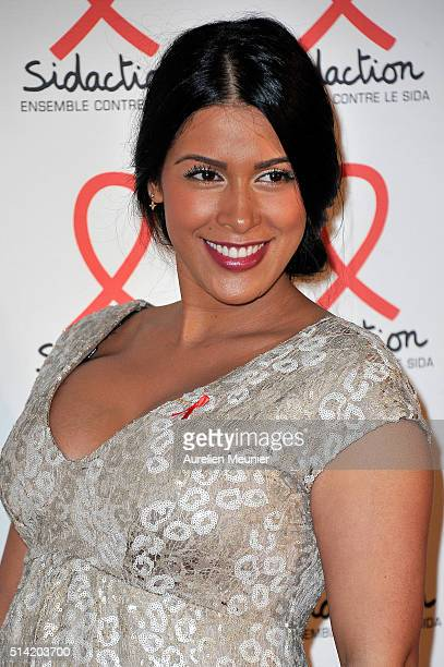 Ayem Nour attends the Sidaction 2016 Launch party photocall at Musee du Quai Branly on March 7, 2016 in Paris, France.