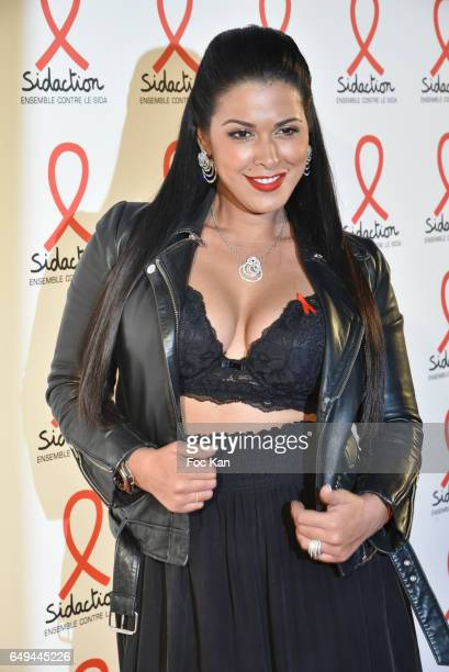 Ayem Nour attends the Sidaction 2017 Launch Party Photocall at Musee Branly on March 07 2017 in Paris France
