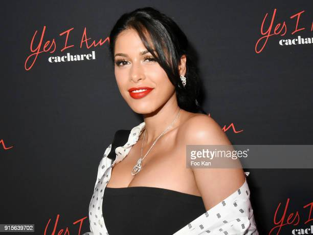 """Ayem Nour attends the """"Yes I Am"""" Cacharel Flagrance Launch Party at the QG on February 7, 2018 in Paris, France."""