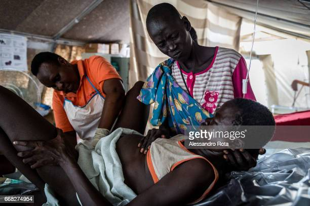22 OCT 2015 Ayen Majok Ariik is delivering her first child at Healtlink clinic She is from a kettle camp and came to the facility with the ambulance...