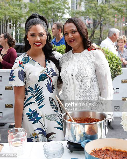 Ayesha Curry and Carol Alexander host a chili cooking session on Fox and Friends at FOX Studios on September 21 2016 in New York City