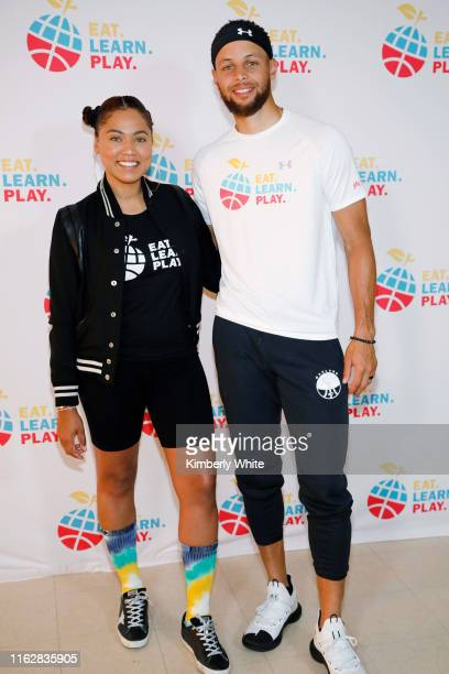 Ayesha Curry and Stephen Curry are seen at the launch of Eat Learn Play Foundation on July 18 2019 in Oakland California