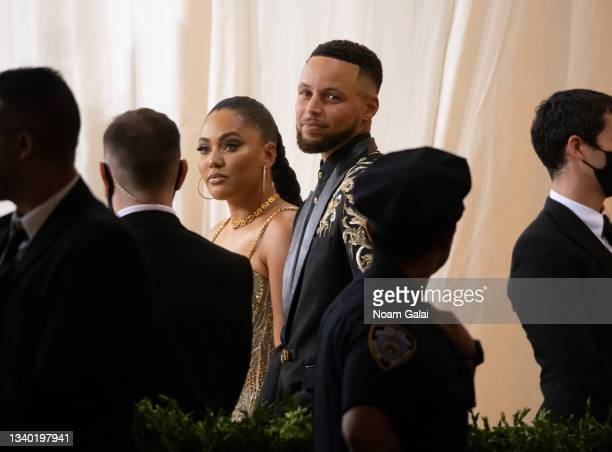 Ayesha Curry and Stephen Curry attend the 2021 Met Gala celebrating 'In America: A Lexicon of Fashion' at The Metropolitan Museum of Art on September...