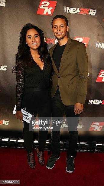 Ayesha Curry and Stephen Curry attend the NBA 2K16 Premiere at Marquee on September 21 2015 in New York City