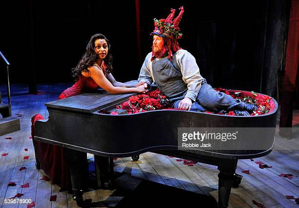 Ayesha Dharker as Titania and David Mears as Bottom in William Shakespeare's A Midsummer Night's Dream directed by Erica Whyman at the Royal...
