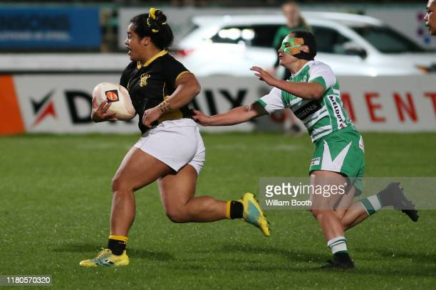 Ayesha LetiIiga of Wellington during the round 7 Farah Palmer Cup match between Manawatu and Wellington at Central Energy Trust Arena on October 12...