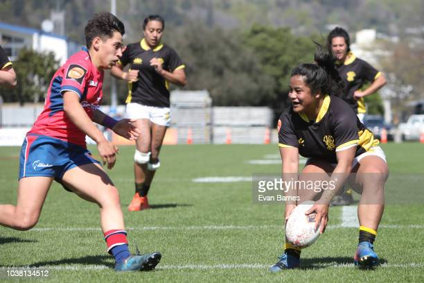 Ayesha LetiLiga dots down for a try during the round four Farah Palmer Cup match between Tasman and Wellington on September 23 2018 in Nelson New...