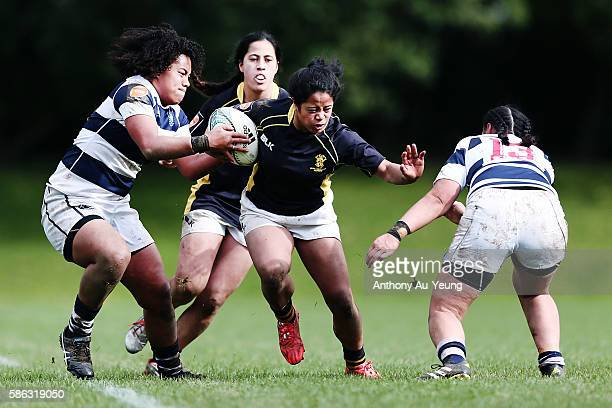 Ayesha LetiLiga of Wellington on the charge against Teuila FotuMoala of Auckland during the round one Farah Palmer Cup match between Auckland and...