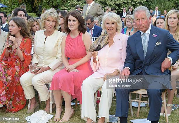 Ayesha Shand Annabel Elliot Princess Eugenie of York Camilla Duchess of Cornwall and Prince Charles Prince of Wales attend the Quintessentially...