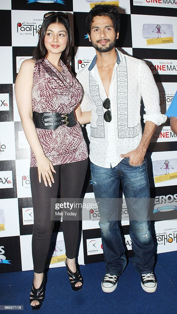 Ayesha Takia and Shahid Kapur at a promotional event for the film Paathshaala in Mumbai on April 16 2010