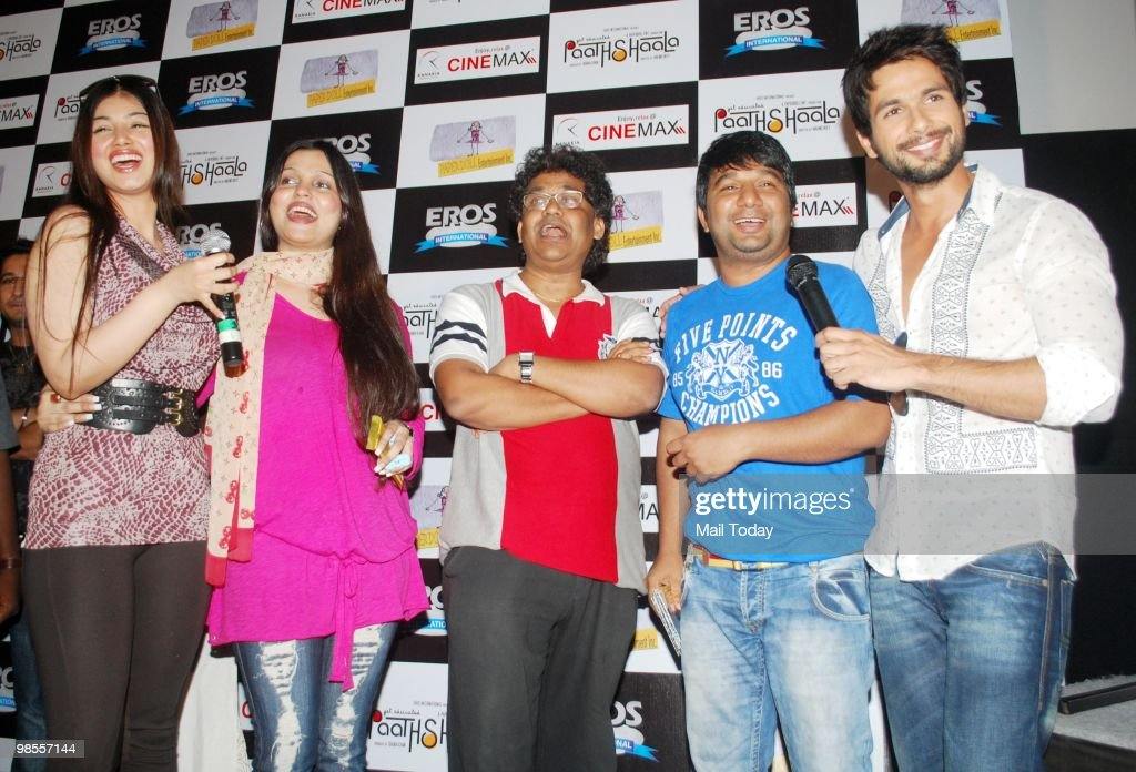 Ayesha Takia Shahid Kapur and Ahmed Khan at a promotional event for the film Paathshaala in Mumbai on April 16 2010