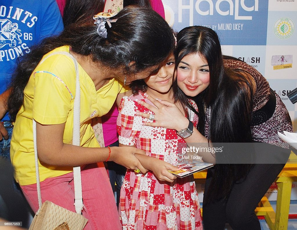 Ayesha Takia with her fans at a promotional event for the film Paathshaala in Mumbai on April 16 2010