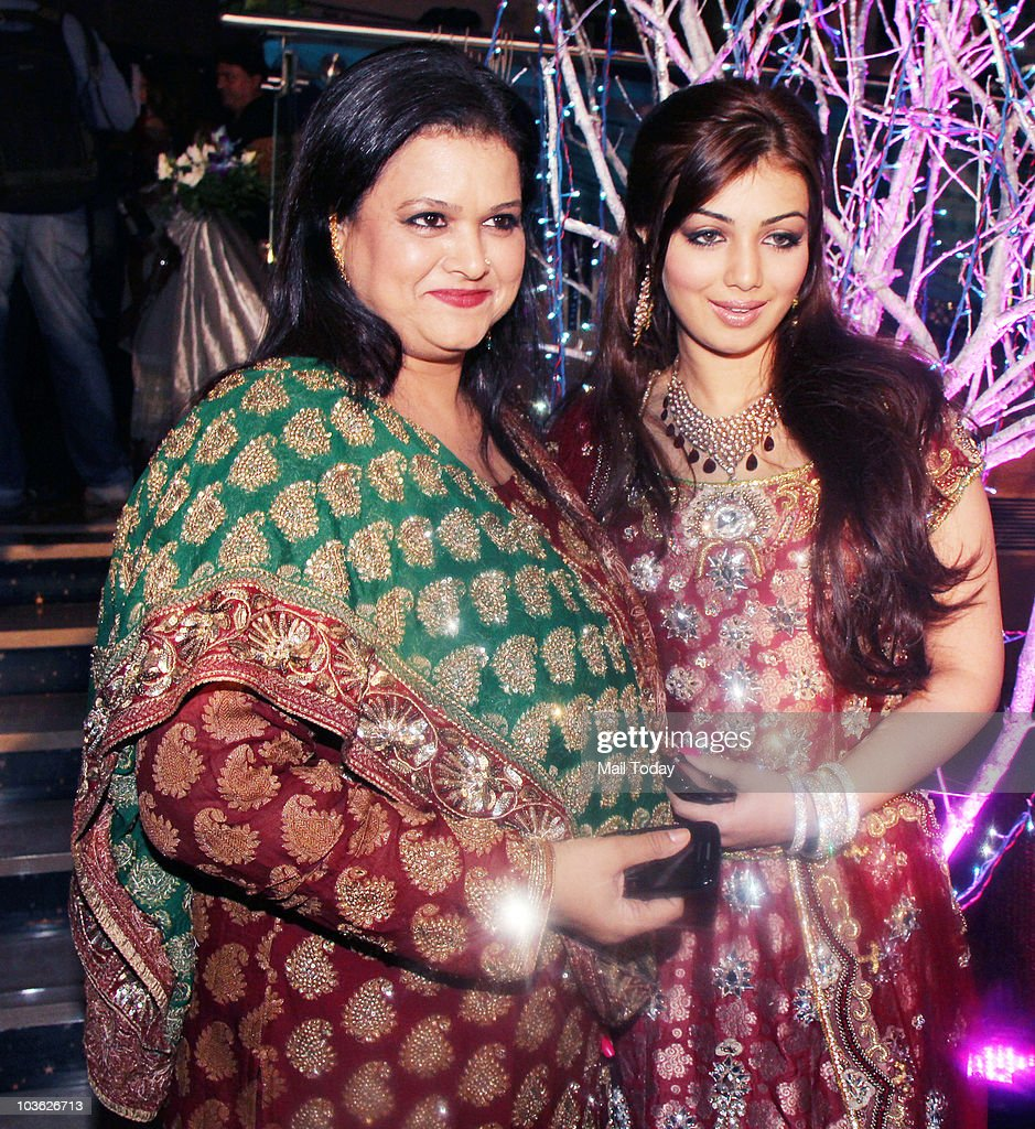 Ayesha Takia with her mother Faridah at the wedding reception of Prakash Raj and Pony Verma in Mumbai on August 24 2010