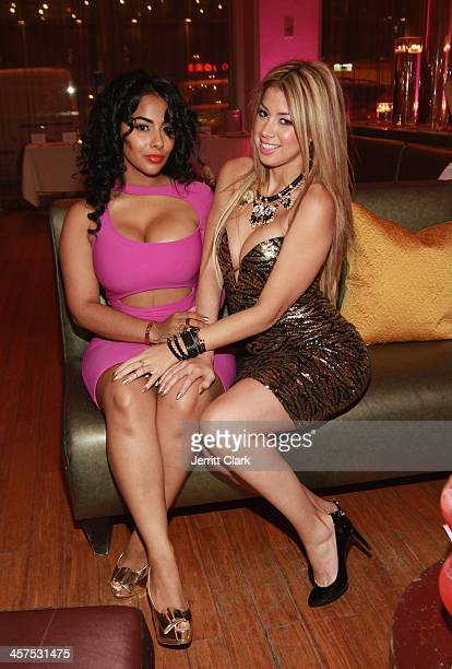 Ayisha Diaz and Pilar Vargas of Princess P Jewelry attend the NBA NFL Wives Holiday Cocktail Mixer at Pranna Restaurant on December 17 2013 in New...