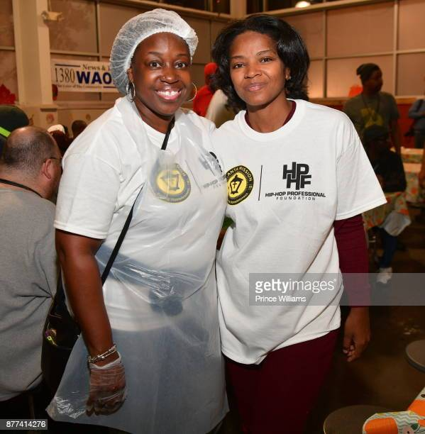 Ayisha Obafemi and Crystal Betts attend the 6th annual No reservations Needed Dinner at Atlanta Mission on November 21 2017 in Atlanta Georgia