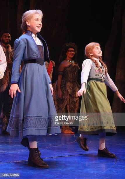 Ayla Schwartz as Young Elsa and Mattea Conforti as Young Anna and take their opening night curtain call for Disney's new hit musical Frozen on...