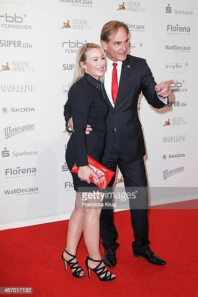 Ayleena Wagner and Burkhard Jung attend Madeleine at Goldene Henne 2014 on October 10 2014 in Leipzig Germany