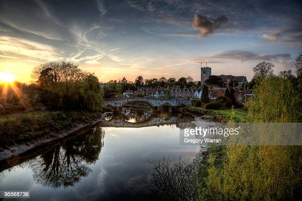 aylesford sunset - river medway stock photos and pictures