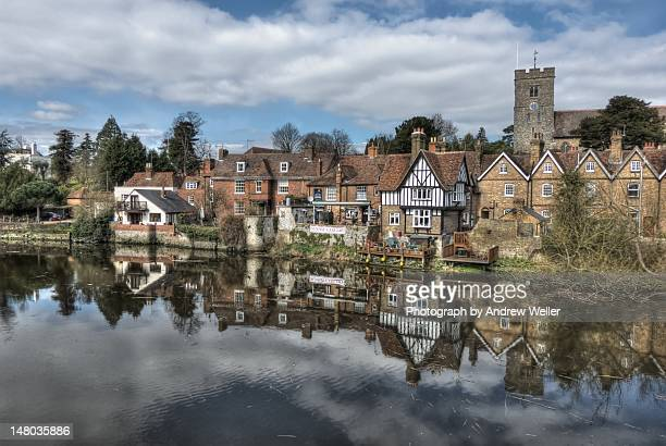 aylesford village reflection - river medway stock photos and pictures