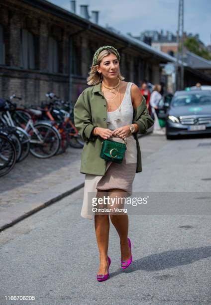 Aylin König is seen outside Holzweiler during Copenhagen Fashion Week Spring/Summer 2020 on August 07 2019 in Copenhagen Denmark