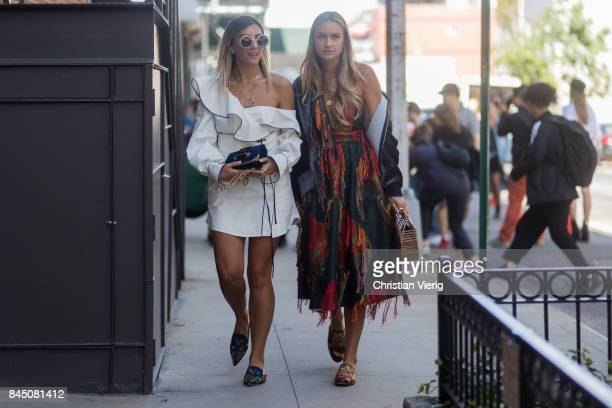 Aylin Koenig and Nina Suess seen in the streets of Manhattan outside SelfPortrait during New York Fashion Week on September 9 2017 in New York City