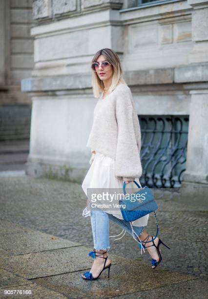 Aylin Koenig Aquazzura heels Chanel bag For Lovers and Friends dress HM Trend knit is seen during the Berlin Fashion Week January 2018 on January 16...