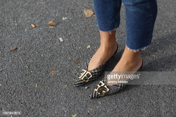 Aylin Koenig detail of the Balenciaga slipper on October 08 2018 in Hamburg