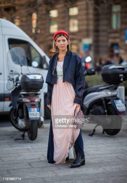 Aylin Koenig is seen wearing hair loop outside Sportmax on Day 3 Milan Fashion Week Autumn/Winter 2019/20 on February 22 2019 in Milan Italy