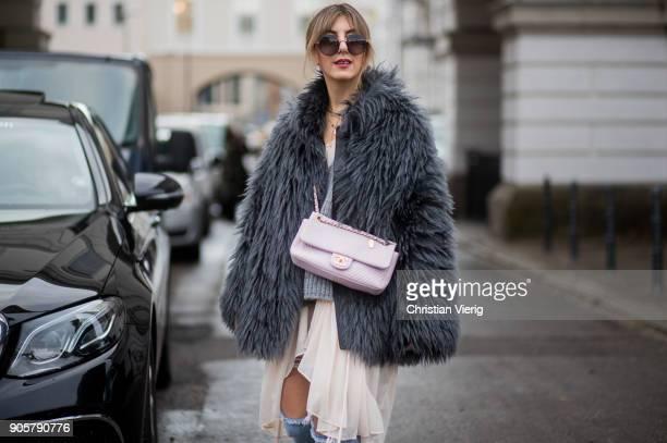 Aylin Koenig weairng Balenciaga sneakers Chanel bag is seen outside Der Berliner Modesalon during the Berlin Fashion Week January 2018 on January 16...