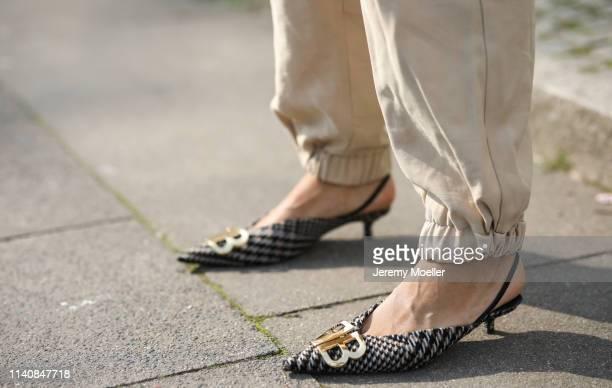 Aylin Koenig wearing Balenciaga slippers Zara pants on April 06 2019 in Hamburg Germany