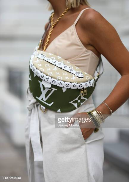Aylin Koenig wearing Bottega Veneta heels Louis Vuitton bag and Jennifer Behr hairband on June 20 2019 in Hamburg Germany