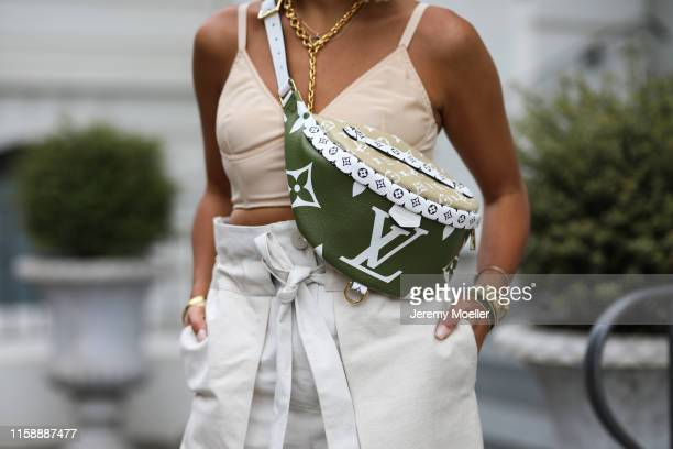 Aylin Koenig wearing Bottega Veneta heels Louis Vuitton bag and Jennifer Behr hairband on June 20 2019 in Hamburg Germany