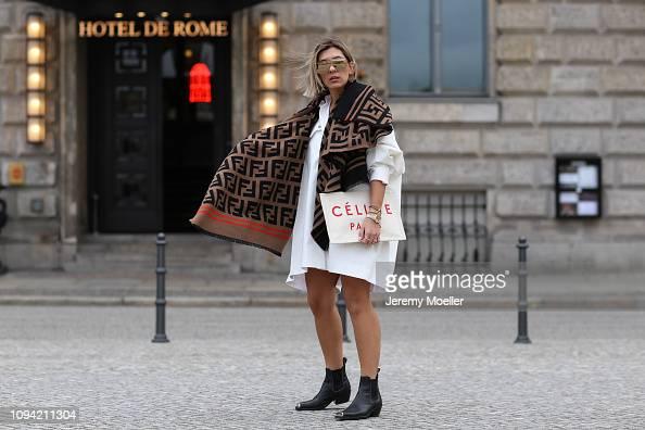 cbf944bbc3f Aylin Koenig wearing Calvin Klein boots, Fendi scarf, Celine clutch,...  News Photo - Getty Images