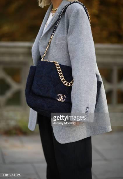 Aylin Koenig wearing Chanel bag, Zara pants and By Aylin Koenig blazer on October 14, 2019 in Hamburg, Germany.