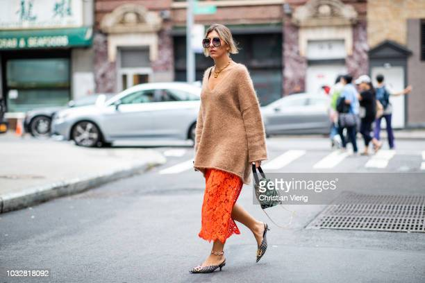 Aylin Koenig wearing Ganni skirt Fendi bag Balenciaga shoes Ganni knit sunglasses Gucci seen during New York Fashion Week Spring/Summer 2019 on...