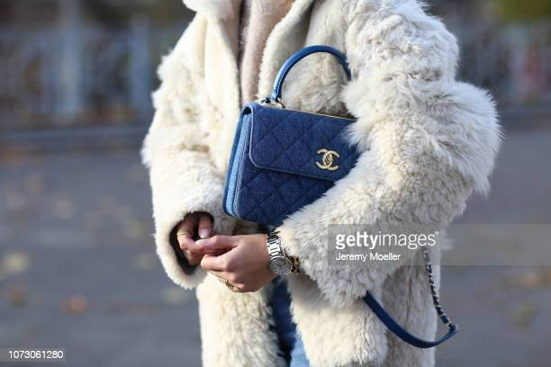 Aylin Koenig wearing Iro Paris jacket Chanel bag Zara sweater Closed jeans Joseph shoes on November 26 2018 in Hamburg Germany