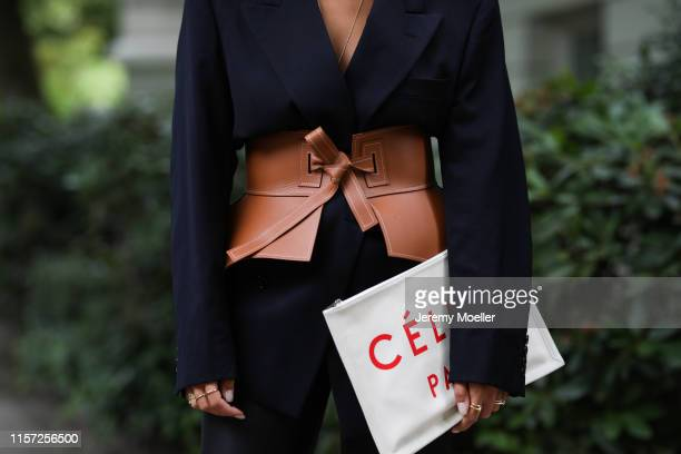 Aylin Koenig wearing Loewe corsage Dior blazer Edited vinyl pants and Celine bag on June 20 2019 in Hamburg Germany