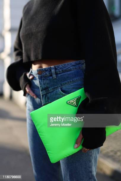Aylin Koenig wearing Stradivarius jeans Orseund Iris sweater Prada bag on February 18 2019 in Hamburg Germany